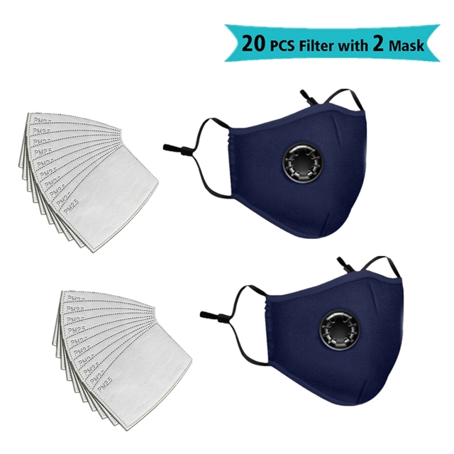 4PCS mask 20PCS filter Mask With Breathing Valve Cotton Haze Mouth Mask Activated Carbon Filter 4