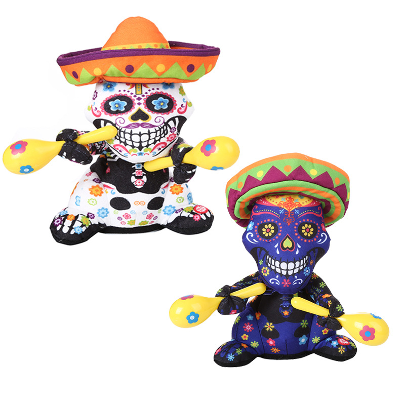 Halloween Electric Toys Singing Dancing Sand Hammer Flower Ghost Flower Heart Ghost Halloween Funny Plush Toys