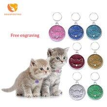 Coleira para animal de estimação, nome personalizado, placa de identificação, colar com pingente para gato, cachorro e gatinho