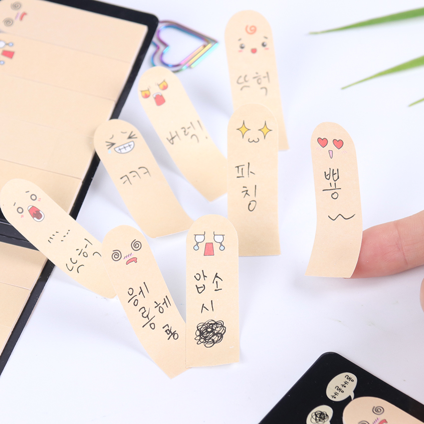 200 Pages/pack Kawaii Unique Scrapbooking Ten Fingers Sticker Bookmark Tab Flags Memo Book Marker Sticky Notes