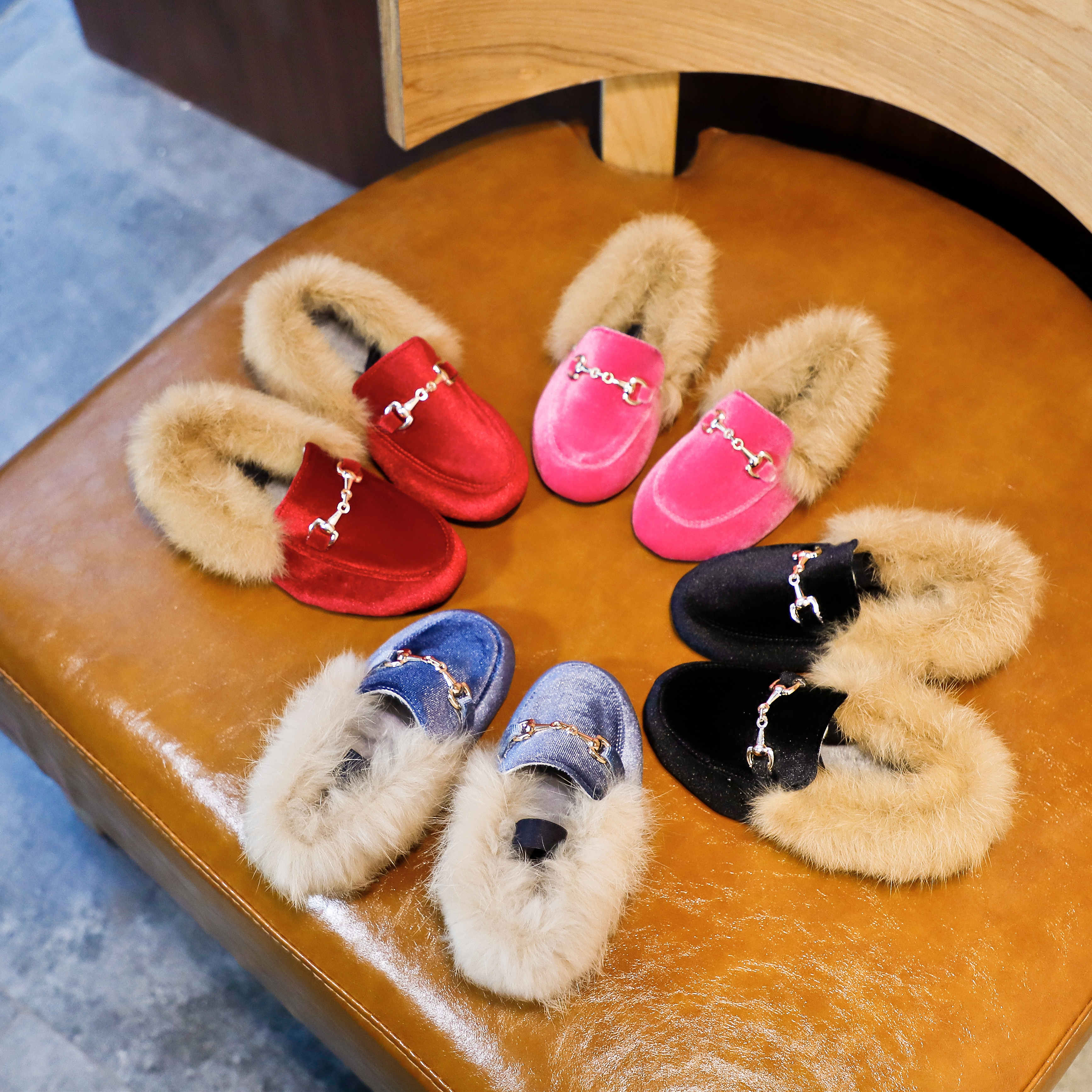 Winter Kids Fur Shoes Toddler Brand Black Loafer Fashion Moccasins Baby Girls Shoes Warm Flats PU Leather Princess Shoes