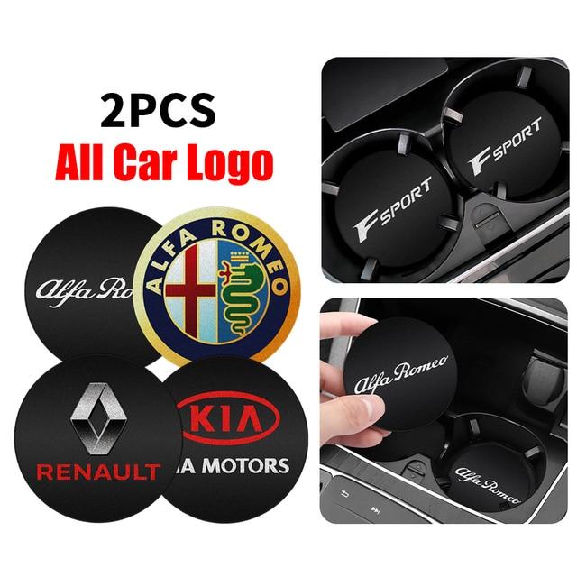 2PCS Car Badge Non slip Cup Mat Pad Auto Interior Coaster for Ford Focus Fiesta Escape Mondeo ST Fusion Mustang Explorer Shelby
