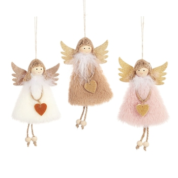 1PC New Year Hanging Doll Christmas Articles Angle Snowflakes Table Ornaments Xmas Decoration For Home Party Navidad Items - discount item  33% OFF Festive & Party Supplies