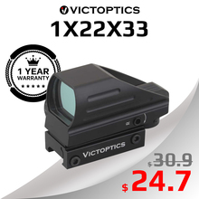 VictOptics 1x22x33 Hunting Red Dot Sight Aim Optical Scope Collimator Riflescope for Real Firearms AR15 .223 & Airsoft Shooting