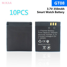 10Pcs 350mah Rechargeable Li-po Li-ion Lithium Smartwatch Battery Stable Power Supply Replacement for GT08 Smart Watch