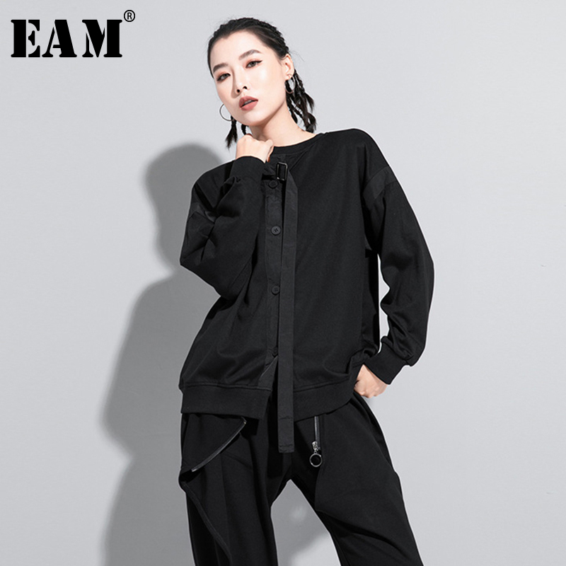 [EAM] Women Black Back Ribbon Split Joint Big Size T-shirt New Round Neck Long Sleeve  Fashion Tide  Spring Autumn 2020 1Z204 1