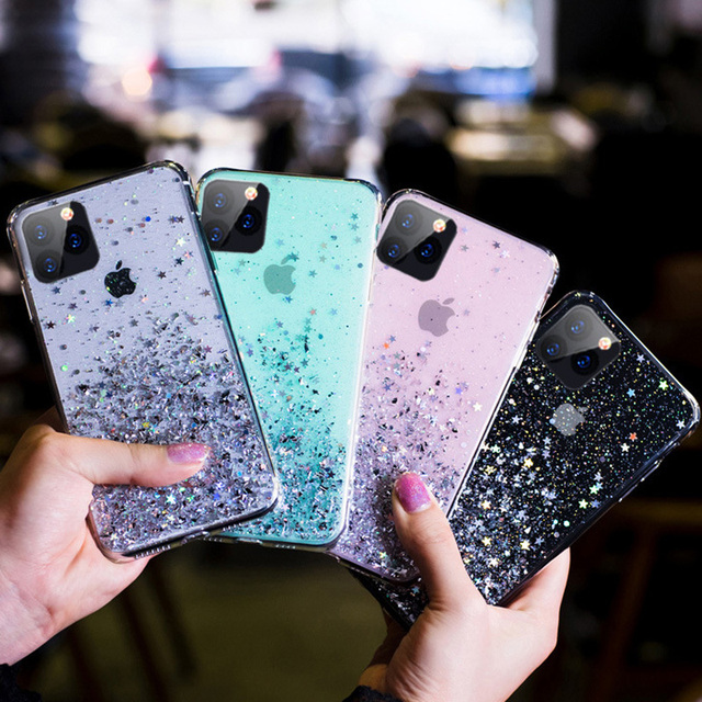Glitter Transparent Phone Case For iPhone