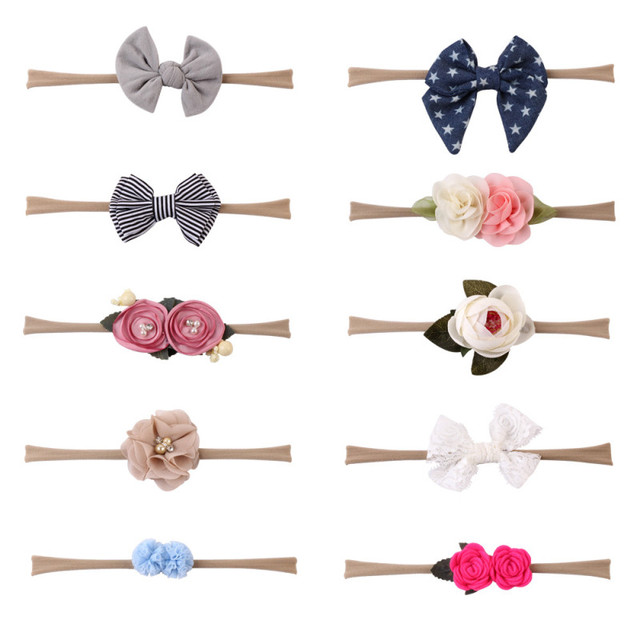 10 Pcs/set Flower Nylon Headband for Baby Girls Elastic Hair Band Newborn Hair Bows Kids Toddler Headband Girl Hair Accessories