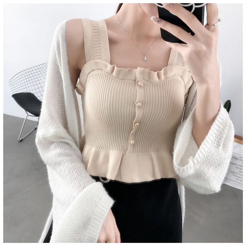 New 2020 Spring Summer Sexy Solid Ruffles Vest Tanks Tops Women Chic Knitted Sleeveless Slash Neck Tanks Beach Sports Crop Tops