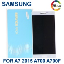 Original 5.5'' Super  AMOLED LCD For SAMSUNG Galaxy A7 2015 A700 A700F A700H phone LCD Display Touch Screen Digitizer Assembly 5 pcs lot new brand test lcd for samsung galaxy a7 a700 a7000 display with touch screen digitizer assembly free ems dhl shipping