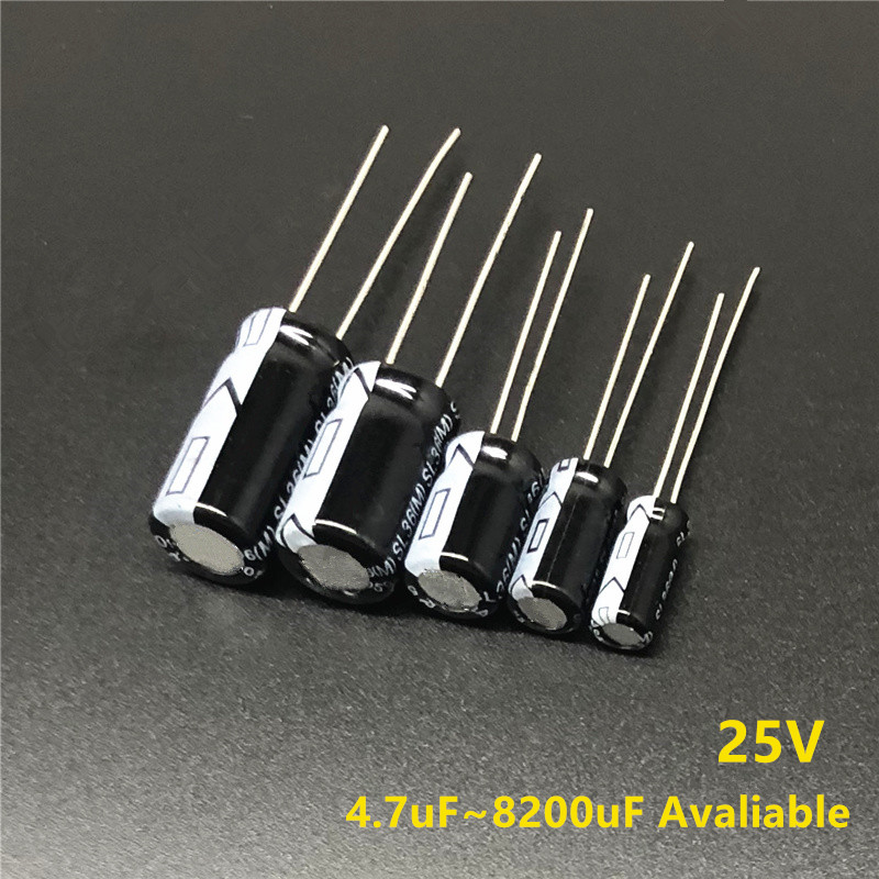 25V 4.7/6.8/10/22/33/47/68/100/180/220/270/330/470/680/820/1000/1500/1800/2200/2700/3300/4700/6800/8200uF Electrolytic Capacitor