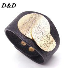 цена на D&D European Fashion Punk Wide Charm Leather Bracelets for Women Men Cuff Bracelet Statement Jewelry