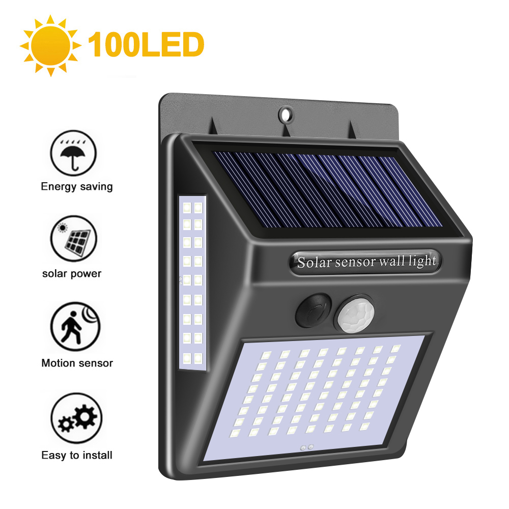 100 LED Solar Light Outdoor Solar Lamp PIR Motion Sensor Wall Light Waterproof Solar Powered Light For Garden Decoration