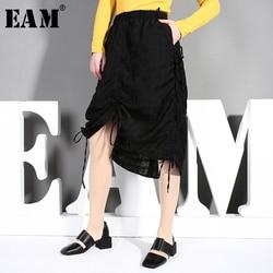 [EAM] Hohe Elastische Taille Schwarz Kordelzug Asymmetrische Gefaltete Halbe körper Rock Frauen Mode Flut Neue Frühling Herbst 2020 JQ730