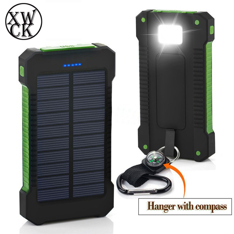 Hot <font><b>Solar</b></font> <font><b>Power</b></font> <font><b>Bank</b></font> <font><b>Waterproof</b></font> <font><b>30000mAh</b></font> <font><b>Solar</b></font> Charger 2 USB Ports External Charger Powerbank for Xiaomi MI iPhone 8 Smartphone image