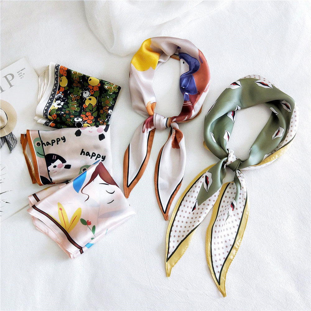 2020 Designer Women's Animal Horse Print Silk Hair Edge Scarf Skarf Woman Purse Handbag Handle Scarfs For Ladies Foulard Cheveux