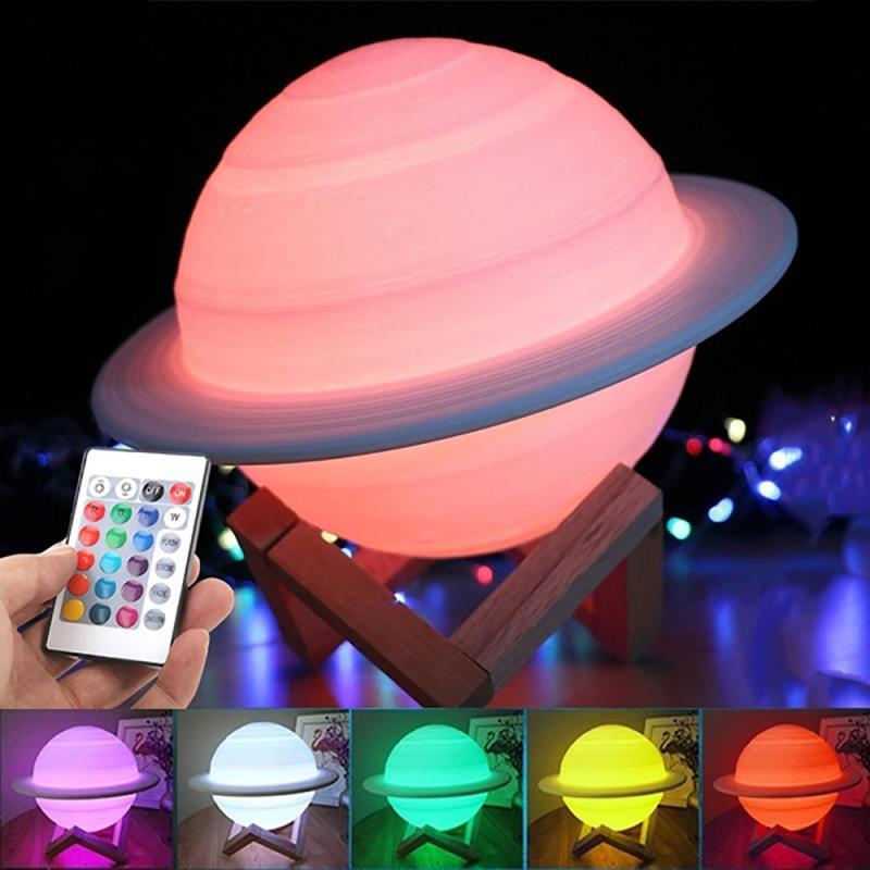 Новинка, 3d saturno lmpada lua 16 cores muдана toque usb, светодиодный ночсветильник 3 cor do cu planeta lua luz decorao casa