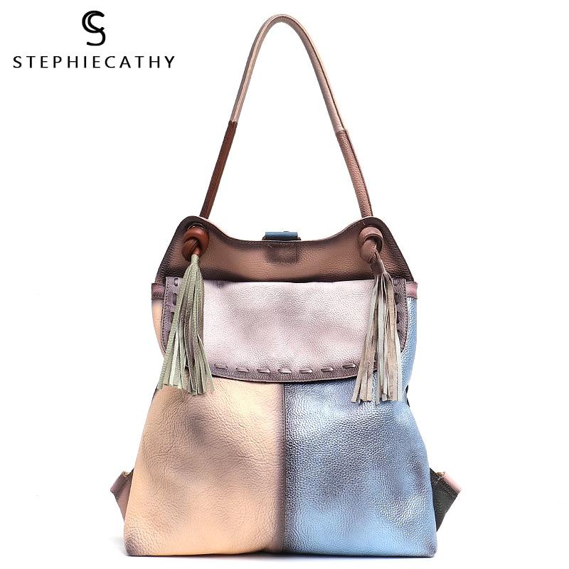 SC Genuine Leather Large Flap Shoulder Bag For Women Vintage Style Leather Patchwork Ladie Tassel Backpack Femal Casual Knapsack