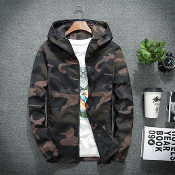 2020 men's new camouflage jacket spring and autumn casual jacket hooded jacket camouflage fashion men's brand clothing 5XL children s denim jacket 2018 spring and autumn new male baby outerwear girls autumn hooded jacket kids jacket casual hooded