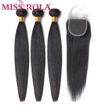 Miss Rola Haar Non Remy Straight Maleisië Haar Weave Bundels 100% Human Hair 3 Bundels Met 4*4 sluiting Natuurlijke Kleur 8 26 Inch