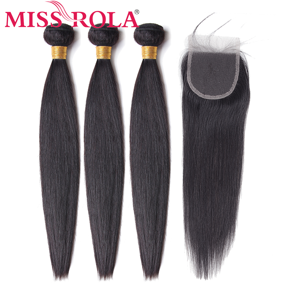 Miss Rola Hair Non-Remy Straight Malaysia Hair Weave Bundles 100% Human Hair 3 Bundles With 4*4 Closure Natural Color 8-26 Inch