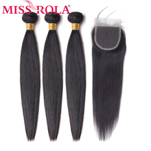 Miss Rola Hair Non Remy Straight Malaysia Hair Weave Bundles 100% Human Hair 3 Bundles With 4*4 Closure Natural Color 8 26 Inch