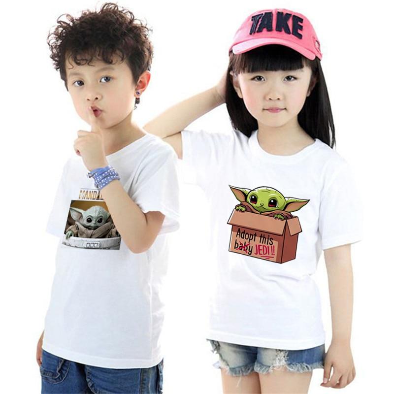 Cute The Mandalorian Baby Yoda Cartoon Kids T Shirt Boys/girls Kawaii Star Wars Children T-shirt Fashion Movie Tshirt Cloth Kids