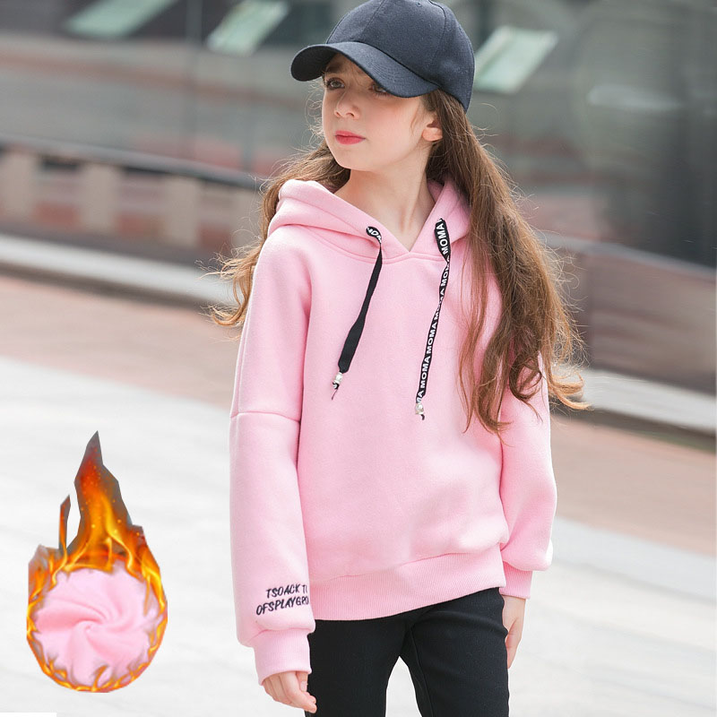 Teenage Girls Sweatshirt Kids Hoodies Autumn Winter Fleece Thick Girls Clothes Sport Sweater Children Costume Girls Outfits 10T