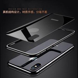 Image 2 - Ultra cienki 9H szkło hartowane etui na iPhone 7 8 Plus XS obudowa metalowa rama Anti knock pokrywa dla iPhone X XR XS Max 7 8 Plus Coque
