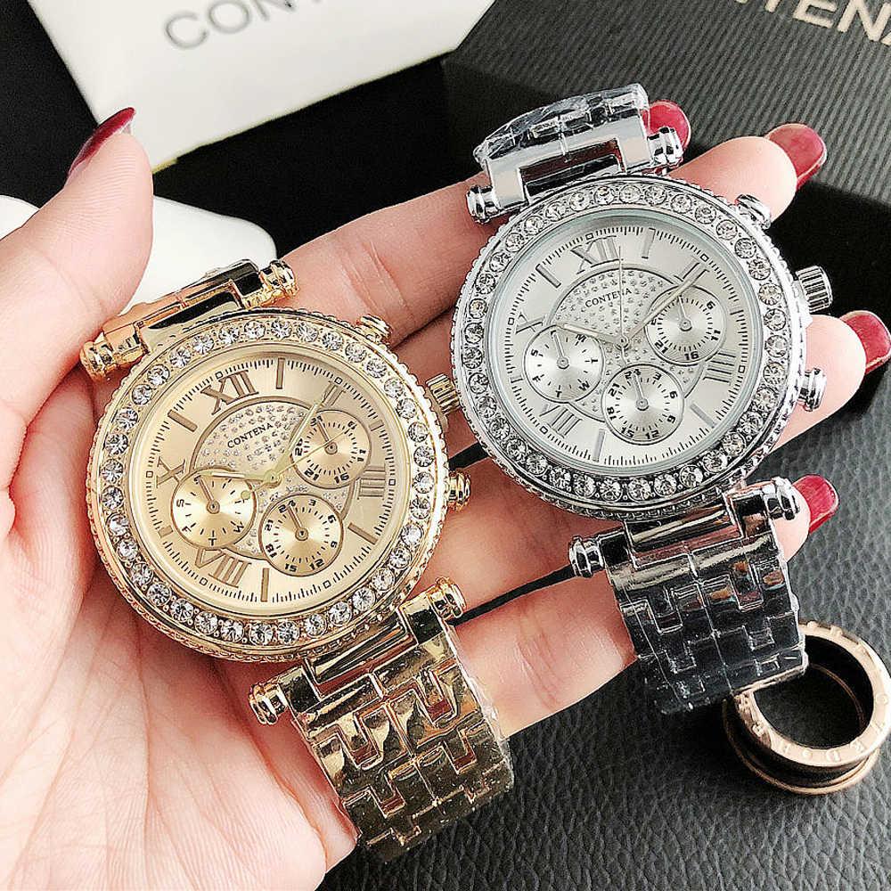 Genf Frauen Uhren Edelstahl Exquisite Uhr Frauen Strass Luxus Casual Quarzuhr Uhren Mujer 2020 Neuheiten