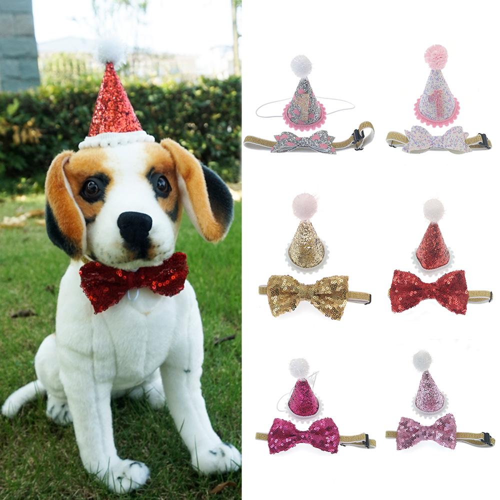 2pcs/set Pet Hat Dog Cap And Dog Bow Tie For Birthday Christmas Hair Accessories Boutique Dog Cat Headwear Pet Accessory