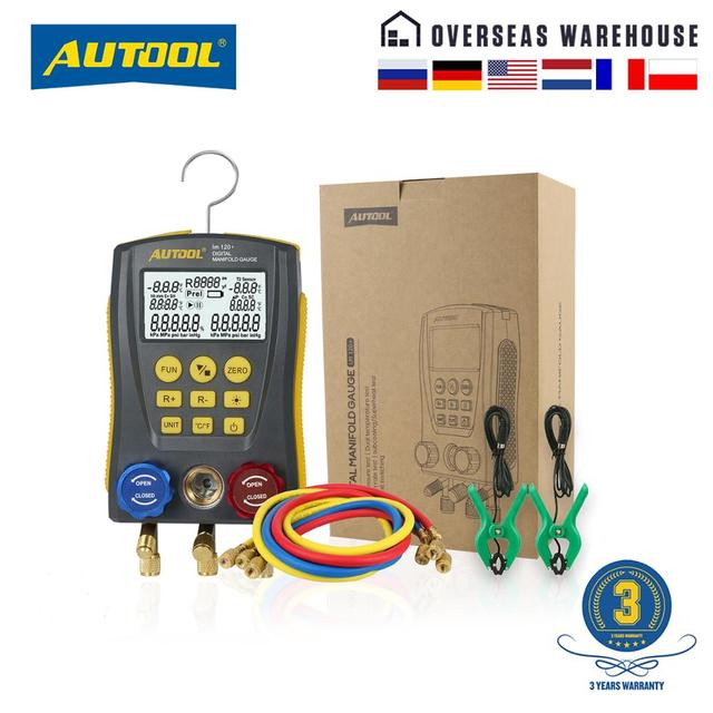 Autool LM120 + Airconditioning Spruitstuk Digitale Vacuum Gauge Voor Koeling Hvac Vacuüm Druk Temperatuur Tester Pk Testo