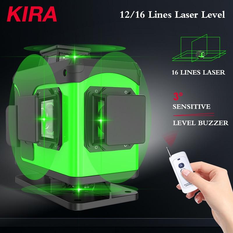 KIRA 16 Lines 4D Laser Level green line Self-Leveling 360 Horizontal And Vertical Super Powerful Laser level green Beam laser le