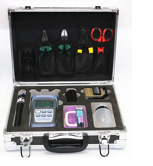 Tool Kit for FTTH Fiber Optic Field assemble with power meter FC-6S Cleaver Visual fault locator