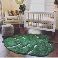 Cotton Baby Carpet Nordic Leaf Shape Cotton Playmat For Children Home Decoration Living Room Area Rug Door Mat Kids Toy Blankets