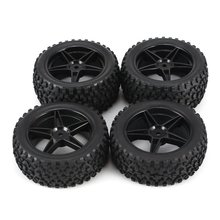 2019 Universal 4pcs 1/10 Scale Off Road Buggy Tires Star Wheel Rims Set Front and Rear 12mm Hex Hubs with Foam Inserts