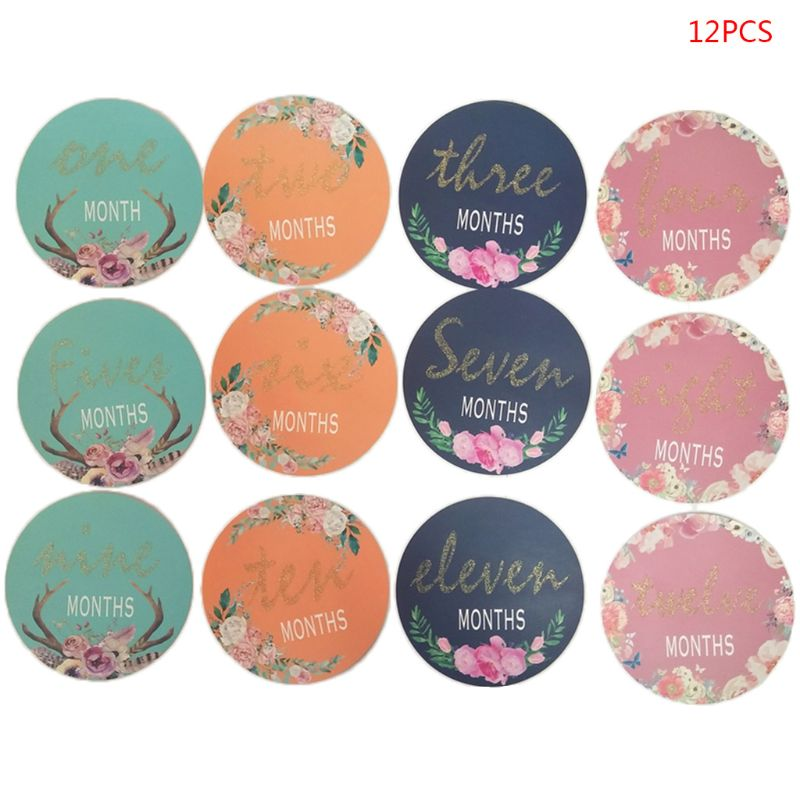 12 Pcs/set Baby Girls Boys Milestone Stickers 12 Monthly Photo Picture Props