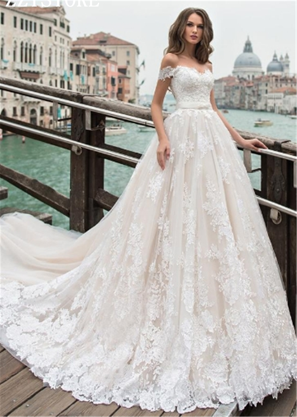 Vestidos De Novia 2019 Sweetheart Neckline Flowers Chapel Ball Gown Wedding Dress Luxury Appliques Beading Lace-up Robe De Maria