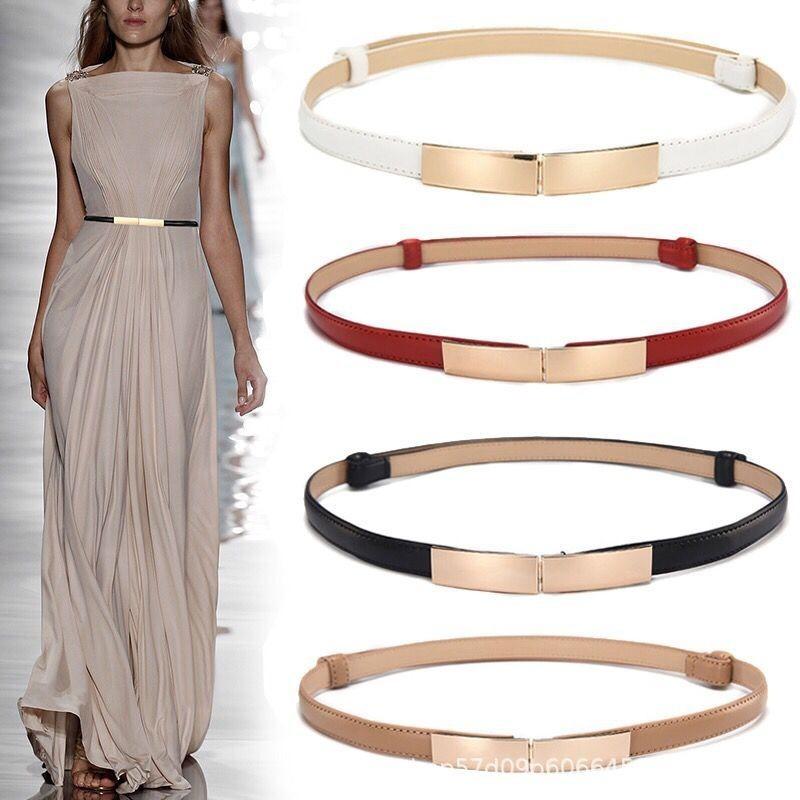 Простые универсальные модные женские кожаные ремни, тонкие обтягивающие металлические золотые эластичные пряжки, пояс, Аксессуары для пла...