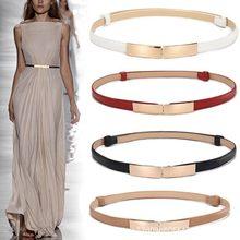 Ceinture en cuir pour femmes, simple et polyvalente, fine et fine en métal doré, boucle élastique, accessoires pour robe