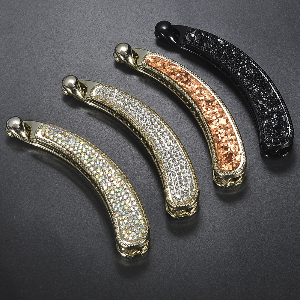 Shining Full Crystal Rhinestone Banana Hair Clip Barrette For Women Tie Up Vertical Clips Ponytail Hair Claws Hair Accessories