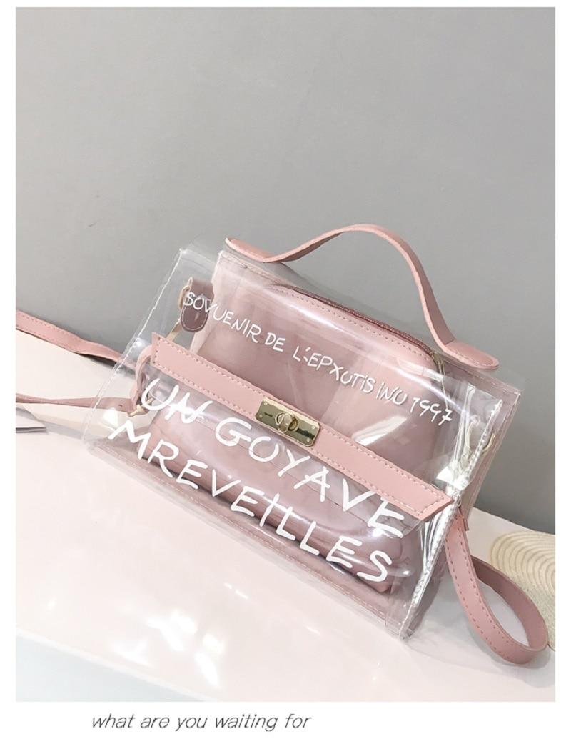 Ins Tide Female Bag New Transparent Mother-in-law Bag Alphabet Handbag Bag Korean Fairy Shoulder Bag