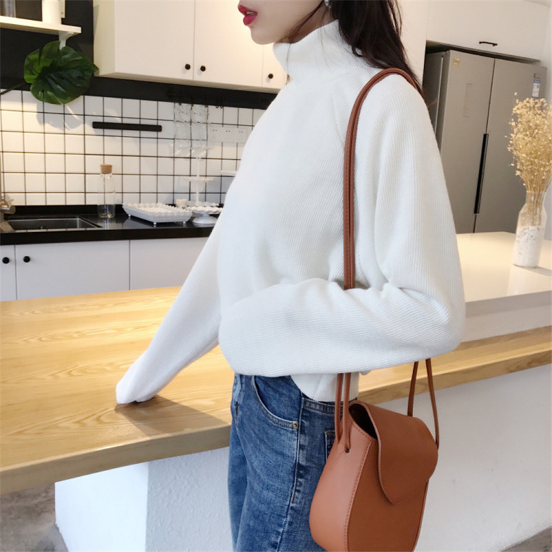 Focal20 Streetwear Turtleneck Solid Women Sweater Jumper Casual High Neck Female Pullover Tops Loose Spring Autumn Lady Sweaters 1