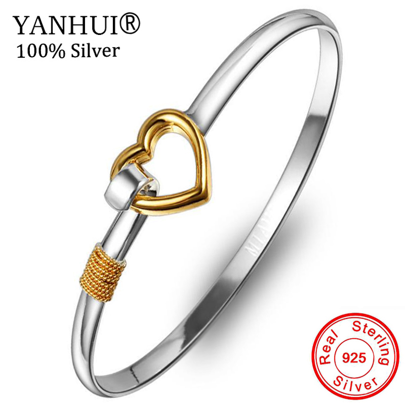 YANHUI 100% Original 925 Pure Silver Heart Shape Cuff Bracelet Bangle Fit For Women Girl Gift Of Love XRXB223
