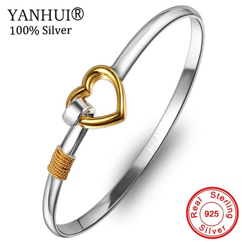 YANHUI 100% Original 925 Pure Silver Heart Shape Cuff Bracelet Bangle Fit For Women Girl Gift Of Love XRXB223