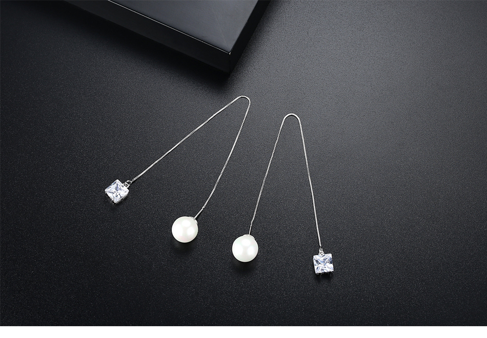 LUOTEEMI Brand Trendy Drop Earrings Double Side Shining CZ with Simulated Pearl Jewelry Ear Wire Long Chain Brincos for Girls 3