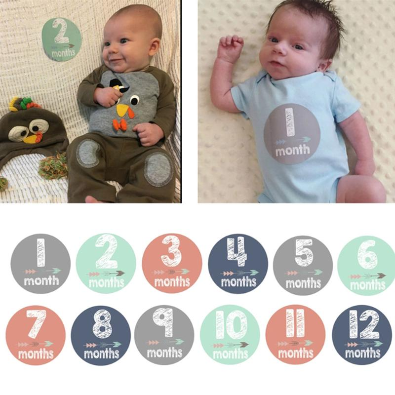 12Pcs Infant Baby Kids Month Milestone Sticker Baby Child Commemorative Stickers Card Number Photograph Prop Hot