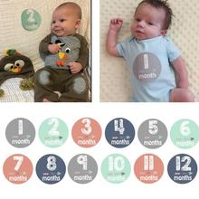 12Pcs Toddler Infant Baby Kids Month Milestone Sticker Baby Child Commemorative Stickers Card Number Photograph Prop Hot New