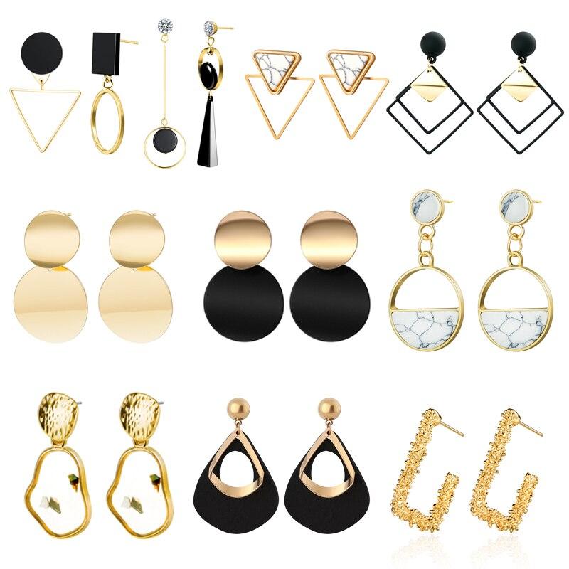 New Korean Statement Drop Earrings 2019 For Women Girl Fashion Vintage Geometric Acrylic Dangle Hanging Earring Jewelry Kolczyki