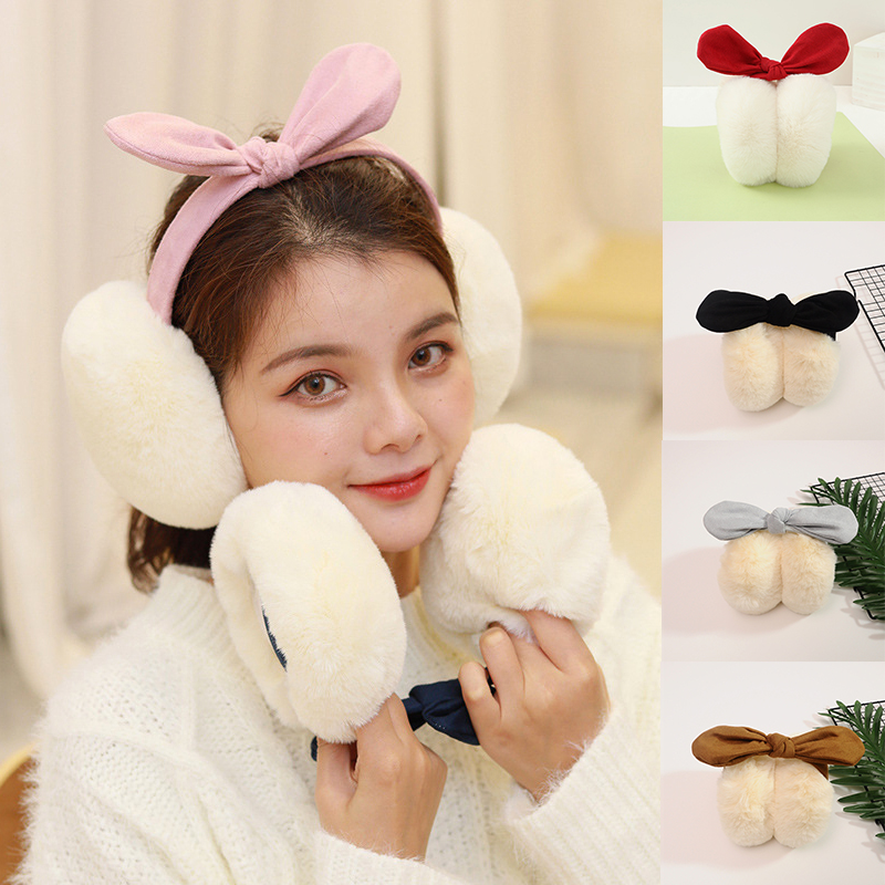 Women's Girls Winter Warm Cute Rabbit Plush Plus Earmuffs Warmer Autumn Warm Cartoon Ear Warmer Bow Fur Headphones Earmuffs